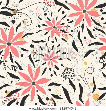 Seamless Floral Pattern with hand drawn pink flowers pastel pink and black on white background with dots and splatters. Great for wall art. fabric cards swatches textile etc. Vector Illustration