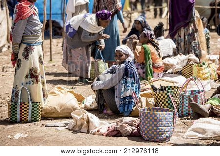 OROMIA, ETHIOPIA-OCTOBER 31, 2017: Unidentified sellers sell goods in an outdoor market in Ethiopia