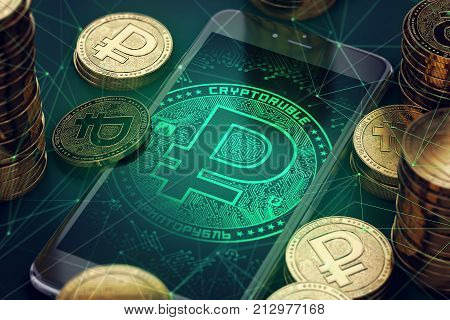 Smartphone with green Crypto ruble symbol on-screen among crypto ruble coins. Cryptoruble concept coin & virtual wallet. 3D rendering