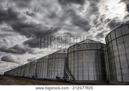 Saskatchewan Canada Landscape Rural Prairie Granary clouds