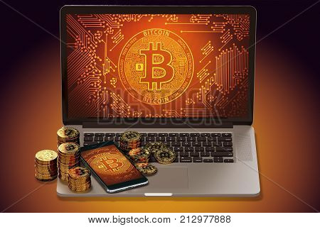 Bitcoin symbol on-screen and golden Bitcoin coins laying on computer keyboard. Bitcoin price decline concept. 3D rendering poster