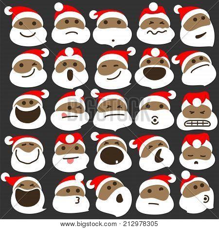 Black Santa Claus Christmas Emoticons. Vector Illustration Of African American Santa Claus Emoticons For Christmas