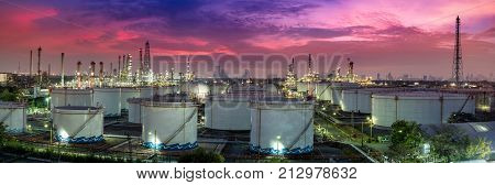 Panoramic View Of The Refinery Plant Oil And Gas Industry - Refinery At Sunrise - Factory - Petroche