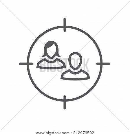 Target Market Icon With People & Target