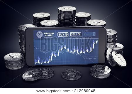 Smartphone with Ethereum Classic trading chart on-screen among piles of Ether. ETC trading concept. 3D rendering