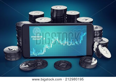 Smartphone with Ethereum Classic (ETC) growth chart on-screen among piles of Ether coins. ETC growth concept. 3D rendering