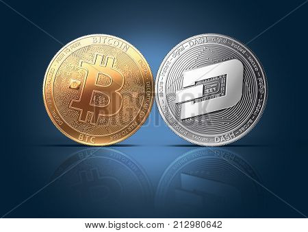 Clash of Bitcoin and Dash coins on a gently lit background with copy space. Competing cryptocurrencies concept. 3D rendering