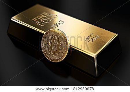 Golden Bitcoin lean against gold ingot (bullion bar). Bitcoin fails to be more desirable than gold. 3D rendering