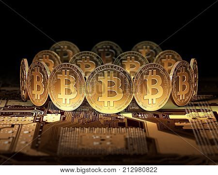 New Bitcoin Cash after Bitcoin split standing on motherboard. 3D Illustration. New cryprocurrency after Bitcoin split concept