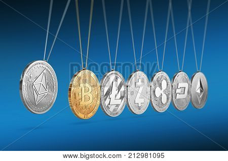 Ethereum coin on Newton's cradle boosts and accelerates other cryptocurrencies and back and forth. Cryptocurrencies boosting prices one another concept. 3D rendering.