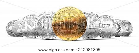 Set of cryptocurrencies with a golden bitcoin on the front as the leader. Bitcoin as most important cryptocurrency concept. 3D rendering