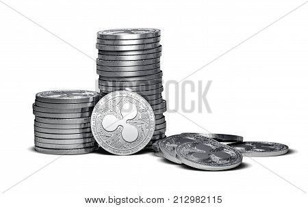 Big stack of Ripple coins (XRP) isolated on white background. Ripple coin growth concept. New virtual money 3D render.
