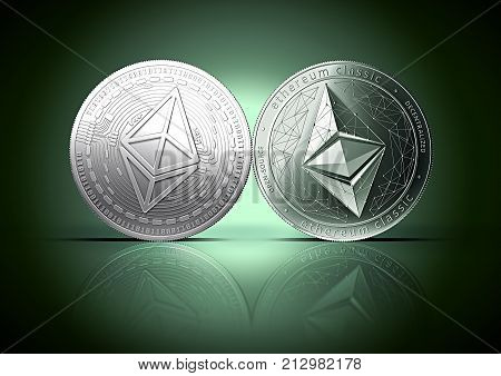 Clash of Ethereum and Ethereum classic coins on a gently lit reflective dark green background with copy space. Competing cryptocurrencies concept.