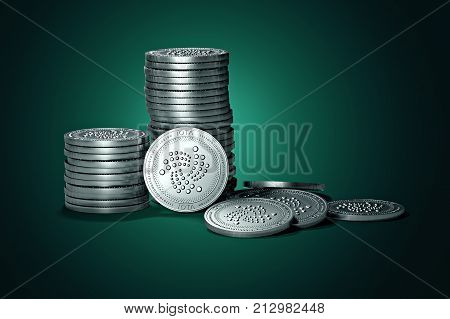 Big stack of IOTA coins on gently lit green background. IOTA coin growth concept. New virtual money 3D render.