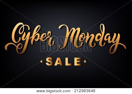 Cyber Monday sale. Hand drawn lettering for banner/logo/badge/web/poster. Cyber Monday lettering for Jewelry store. Discount time. Vector illustration for your business artwork,isolated on background.