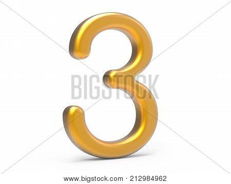 3D Render Golden Number 3