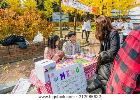 Students Of Woosong College Sell Food Tickets