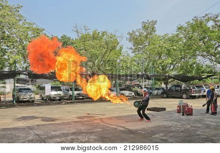 BANGKOK THAILAND - OCTOBER 31 2017 : People preparedness for fire drill and training
