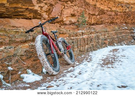 fat bike on a canyon trail with snow - Ruby Wash in Red Mountain Open Space north of Fort Collins, COlorado