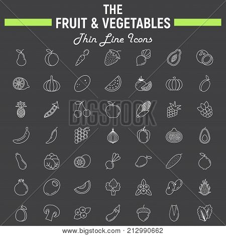Fruit and Vegetables thin line icon set, food symbols collection, vegetarian vector sketches, logo illustrations, linear pictograms package isolated on black background, eps 10.
