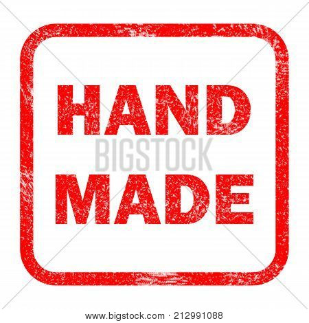 grunge rubber stamp with text hand made white background. hand made sign. grunge stamp with frame colored red and text hand made.