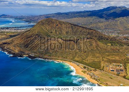 Aerial View Of Koko Head Volcano Crater And Lagoon In Honolulu Hawaii