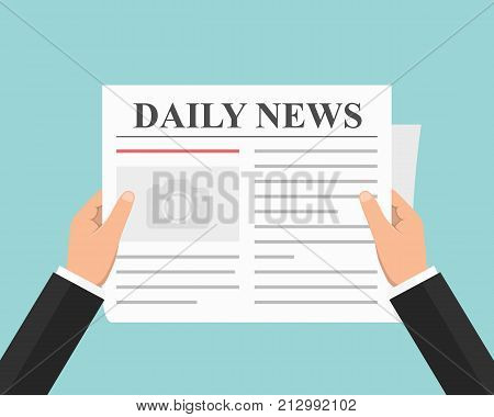 Man with newspaper, daily news, flat style, vector eps10 illustration