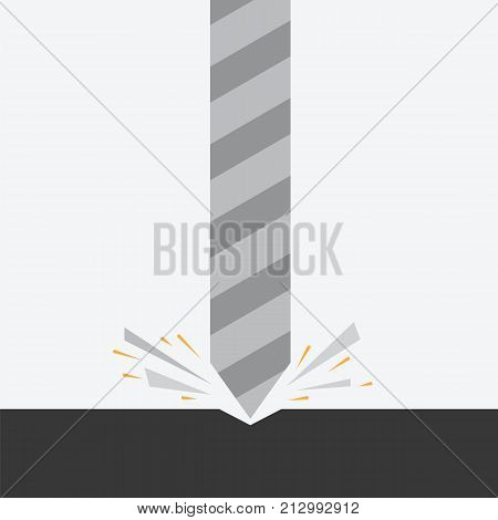 Drill boring hole in hard surface vector illustration. Vector icon drill tool