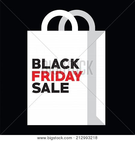 White bag for black friday shopping at autumn sale vector illustration. Vector picture shopping bag for autumn discounts in store on black friday sale