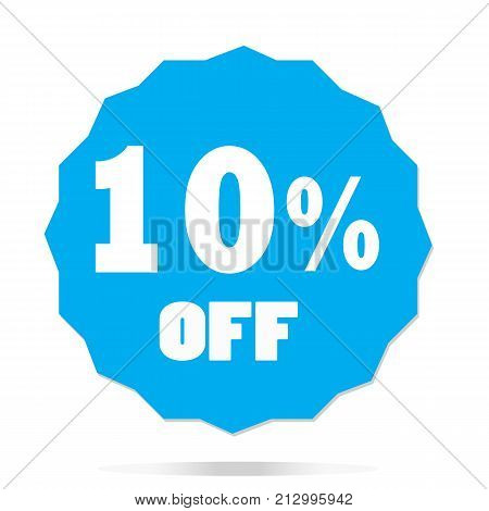 10 percent off on white background. 10 percent off sign. flat style.