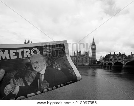 Newspaper Showing Jeremy Corbyn In London Black And White