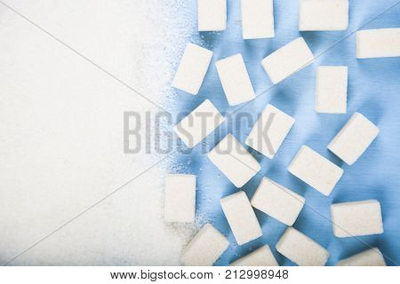 White Sugar And Cubes Of Sugar