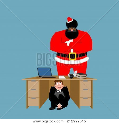 Businessman scared under table of angry Santa Claus. frightened business man under work board. To hide from Christmas. Boss fear office desk. Vector illustration