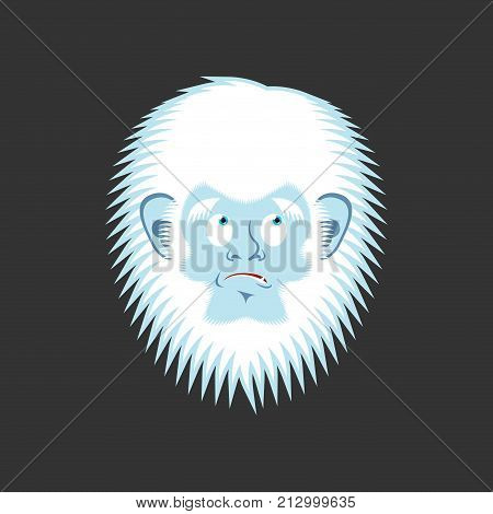 Yeti Guilty Emoji. Bigfoot Delinquent Face. Abominable Snowman Culpable Avatar. Vector Illustration