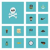 Flat Icons Corsair, Banner, Treasure Map And Other Vector Elements poster