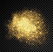 Gold glitter splatter of golden fireworks and shining star particles outburst on vector black transparent background. Shimmering sequins spray and gleaming light effect with sparkling flares texture poster