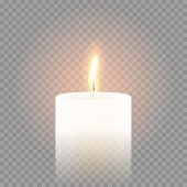 Candle flame burning on vector transparent background. 3D realistic isolated white scented paraffin wax candle light poster