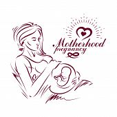 Elegant pregnant woman body silhouette drawing. Vector illustration of mother-to-be fondles her belly. Medical rehabilitation and childcare center marketing card poster