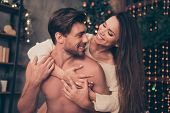 Celebrate christmastime embrace brunette lady rides married brunet partner on rear cuddle cute feelings horny hot naughty passion temptation pleasure smooth skin intense tender poster