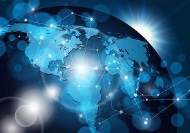 Global network connection on dark blue background. Vector illustration.