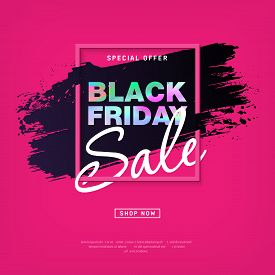 Black Friday Sale Poster with holographic text. Modern concept for cover design. Shopping discount promotion. Sale layout background for business, promotion and advertising. Vector illustration.