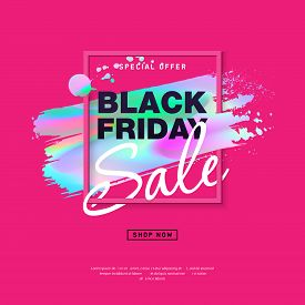 Black Friday Sale Poster with holographic brush stroke. Modern concept for cover design. Special offer promotion. Sale Discount banners, labels, print posters, web presentation.. Vector illustration.