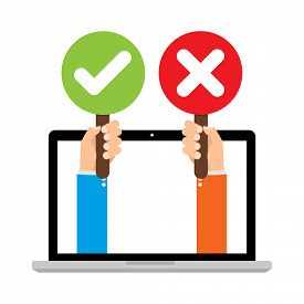 Businessman hand hold signboard Green check mark and red X mark Right and Wrong for feedback from laptop computer. Cartoon flat vector illustration business concept.