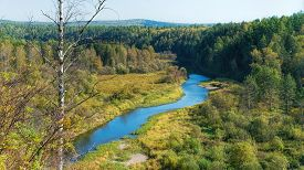 River in the middle of the forest. Ural, Russia