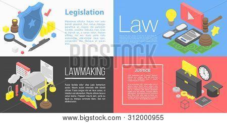 Legislation Banner Set. Isometric Set Of Legislation Vector Banner For Web Design