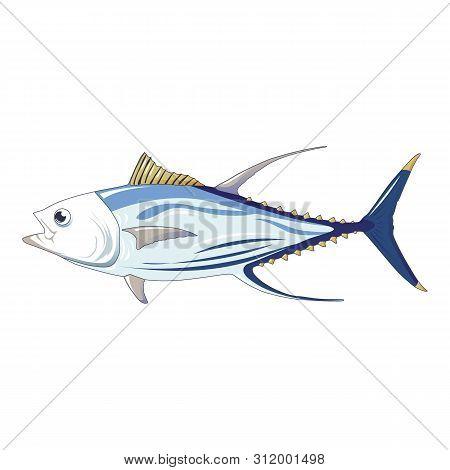 Tuna Fish Icon. Cartoon Of Tuna Fish Vector Icon For Web Design Isolated On White Background