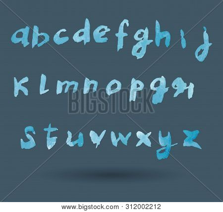 Modern Vector Watercolor Alphabet. Font. Abc Painted Letters. Brushed Lettering.
