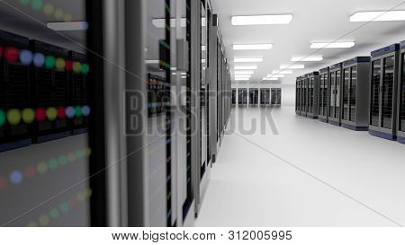 Server Racks In Server Room Cloud Data Center. Exit Door. Datacenter Hardware Cluster. Backup, Hosti