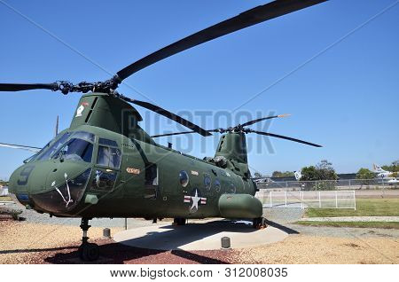 San Diego, Usa- July 1, 2019: Sea Knight Ch-46 Display Inside Flying Leatherneck Aviation Museum In