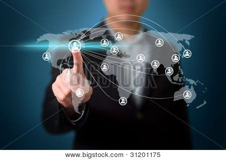Businessman pressing simple start buttons on a touch screen interface